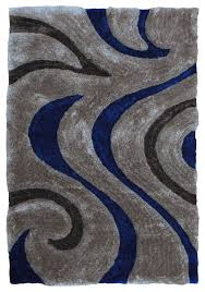 Shaggy Grey Rug 3d Shaggy 806 Abstract Wavy Swirl Design Electric Blue Color Area
