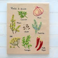Herbs U0026 Spices Wall Chart Hand Embroidery Pattern Instant Download