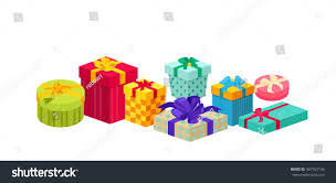 set holiday christmas box surprise ribbon stock vector 367752146