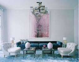 how to decorate around a blue velvet sofa