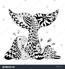 hand drawn zentangle waves whale tail stock vector 342328556