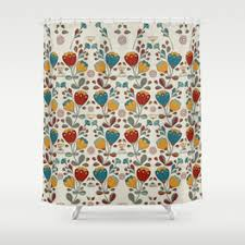 Orange And Blue Shower Curtain Florals Shower Curtains Society6