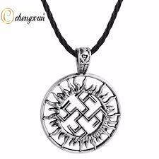 vintage black pendant necklace images Chengxun vintage viking black sun wheel rune hollow circle pendant jpg
