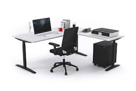 sit stand range electric corner standing desk black frame right side