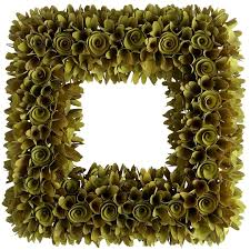 wood curl green square wreath pier imports idolza