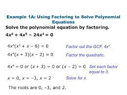 solving polynomials factoring example 1a 3a using solve polynomial