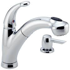 468 sd dst single handle pull out kitchen faucet with soap dispenser