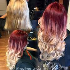 red to ash blonde balayage ombre red hair blonde hair ash