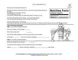 printable food labels serving size math computation worksheet
