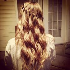hair hairstyles for prom waterfall braid curly curls party hairstyle