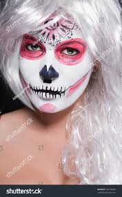 halloween costumes with white background extreme makeup cosmetic creation using color stock photo 325188308