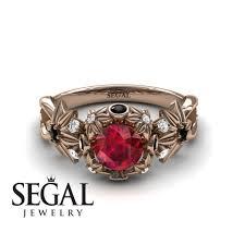 unique engagement ring 14k rose gold 0 84 carat round cut ruby
