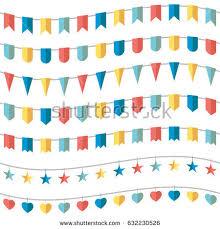 colorful bunting garland set vector illustration stock vector