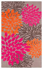 Flower Area Rugs by Surya Abigail Abi 9070 Pink Tangerine Light Gray Area Rug