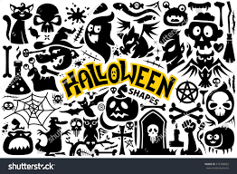 halloween skull with candle background set halloween characters items bat blood stock vector 476709892