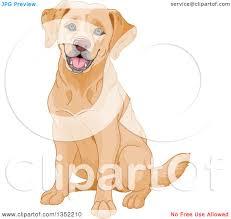 clipart of a happy yellow labrador retriever dog sitting royalty