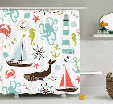 lighthouse home decor amazon com fabric shower curtain by ambesonne whale shark
