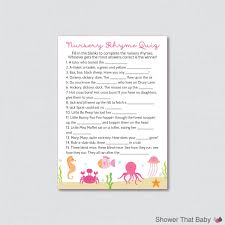 under the sea nursery rhyme quiz baby shower game in pink