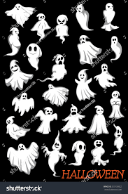 big set of halloween flying ghosts and ghouls on dark background
