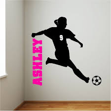 soccer wall decal etsy personalized soccer girl wall decal removable sticker