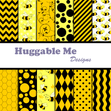 bumble bee paper yellow black chevron gingham busy bee