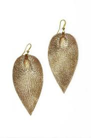 ear ring image zia metallic leather leaf earring in gold the flourish market
