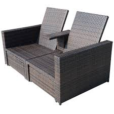 amazon com outsunny outdoor 3 piece pe rattan wicker patio love