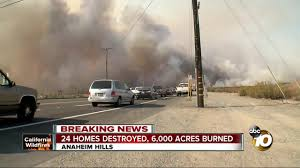 Wildfire Gymnastics Tustin Ca by Evacuations Ordered Roads Closed In Anaheim Area Brush Fire