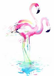 wall art road romantic watercolour flamingo pair canvas print