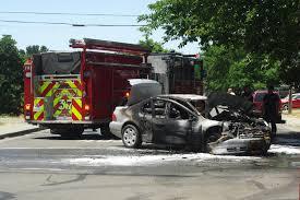 car crash leaves car burned 1 injury 1 arrest