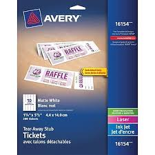 avery tickets template avery tickets with tear away stubs white 1 3 4 x 5 1 2 200