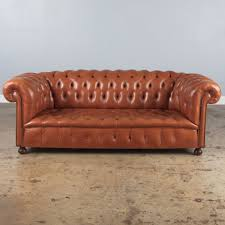 vintage english leather chesterfield sofa 1960s ref 17034