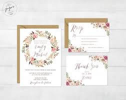 wedding invitations ni floral wedding invitation printable wedding invitation suite