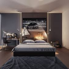 bedroom platform bed with wooden headboard also modern office desk