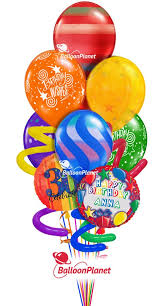 balloons delivered cheap jumbo twisty birthday balloon bouquet name optional age rainbow