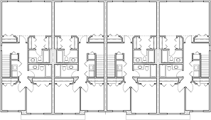 row home floor plans fourplex plan 20 ft wide house plan row home plan 4 plex f 547