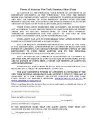 Power Of Attorney Form New York by Power Of Attorney Short Form New York State Best Attorney 2017