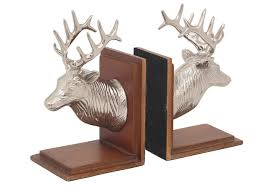 Home Decoratives Home Decor Reindeer Bookend Aluminum And Wood Made With Nickel