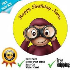 curious george cake topper curious george personalised edible icing cake topper wafer or