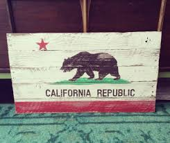 Wooden Ca by Reclaimed Hand Painted Wood California Flag
