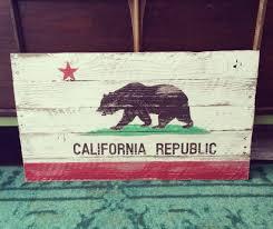 reclaimed hand painted wood california flag