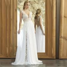 Simple Wedding Dresses Boho Front Slit Lace And Chiffon Beach Wedding Dress Autumn