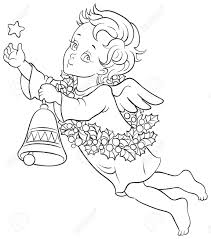 christmas angel with a star a bell and a wreath of holly sketch