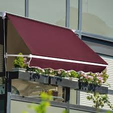 Manual Retractable Awning Outsunny Drop Arm Manual Retractable Door Window Awning Canopy