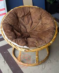 Chair Cushion Cover Furniture Brown Papasan Couch With Rattan Frame On Concrete