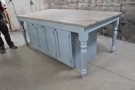 Farmhouse Kitchen Islands by Hand Crafted Custom Light Blue Oak Kitchen Island By