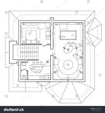 floor plan icons attic floor cottage architectural plan house stock vector