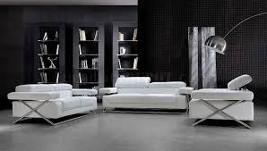livingroom pc white leather ultra modern 3pc living room set black and white