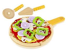 jeux fr cuisine pizza hape e3129 jeu d imitation en bois cuisine kit pizza amazon