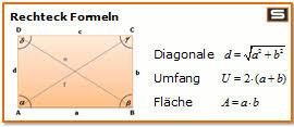 rechteck fläche berechnen rechteck berechnen umfang flächeninhalt diagonale